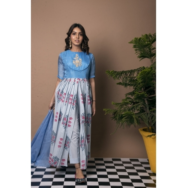 Mughal Boota Front Slit Suit