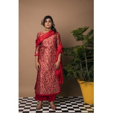 Ganga Jamuna Tendril Block Print Straight Suit