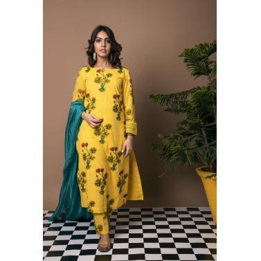 Hybrid Lotus Embroidered Straight Suit