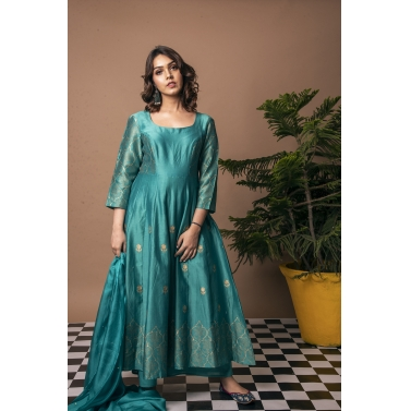 Emerald Green Jharokha Anarkali Suit