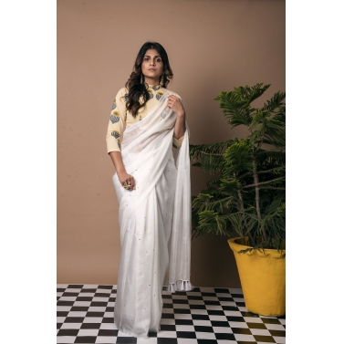 Star and Tassel White Saree