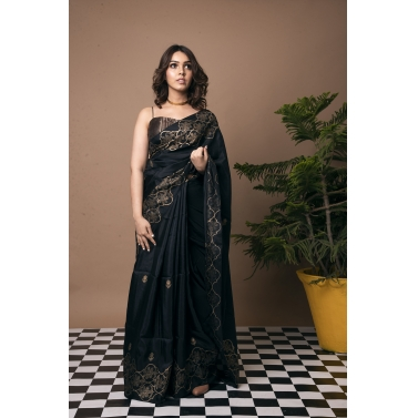 Jharokha Gold Block Print Saree