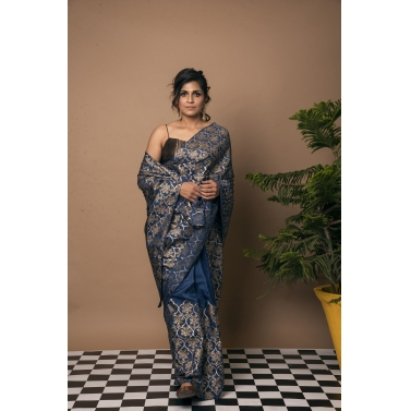 Jharokha Gold Block Print Blue Saree