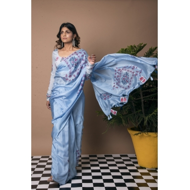 Binary Bunch Block Print Saree