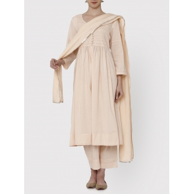Nayanika Dusty Rose pleated tunic and pants set