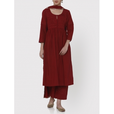 nayanika maroon pleated tunic and pants set