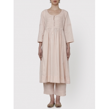 nayanika old rose pleated tunic and pants set