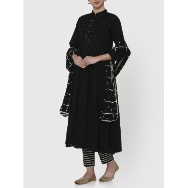 zubeida black 36 kali gota work kurta dupatta and pants set