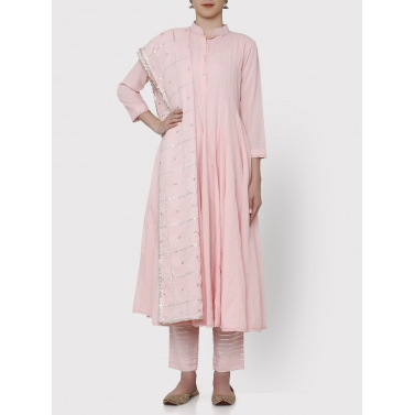 zubeida baby pink 36 kali gota work kurta dupatta and pants set
