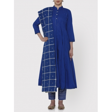 Zubeida cobalt bue 36 kali gota work kurta dupatta and pants set