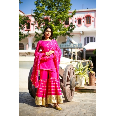 farshi sharara magenta kurti, dupatta and sharara set
