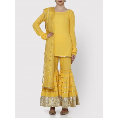 farshi sharara yellow kurti, dupatta and sharara set