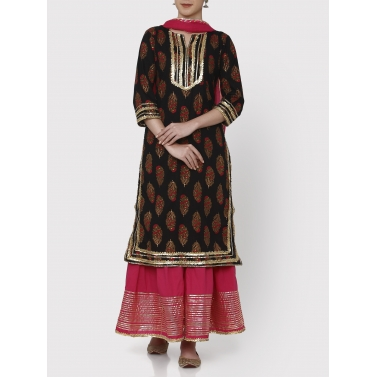 gulmarg sharara set block printed tunic, sharara and dupatta set
