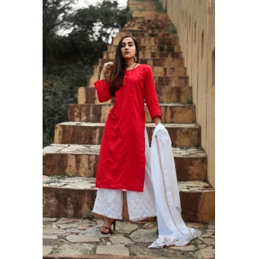 farshi red and white straight kurta with dupatta and farshi with gota detailing