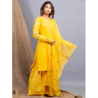Umrao Haldi Kurti, Sharara And Dupatt Set