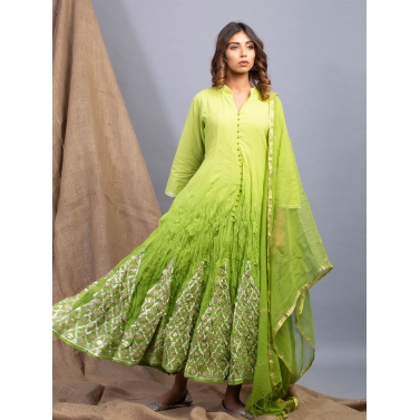 Evergreen Ombre Kalidaar And Dupatta Set