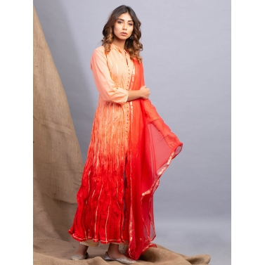Peaches And Reds Kalidaar And Dupatta Set