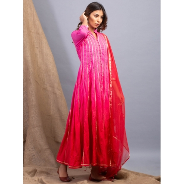 Rose Ombre Kalidaar And Dupatta Set