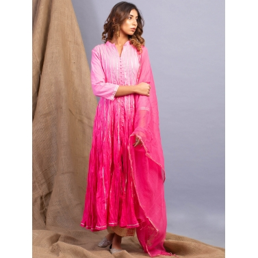 Rose Pink Ombre Kalidaar And Dupatta Set