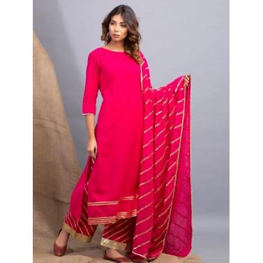 designer-womens-wear/lehriya-magenta-lehar-gota-work-kurta-dupatta-and-farshi-set