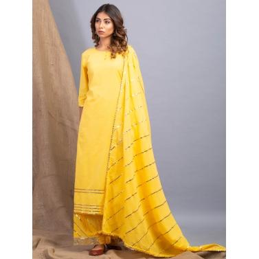 Lehriya Yellow lehar Gota Work Kurta Dupatta And Farshi Set