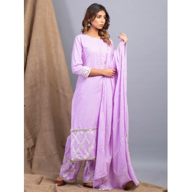 Padamja Lavender Dhari Gota Work Kurta Dupatta And Pants Set