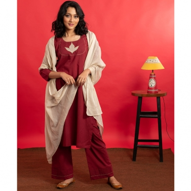Maroon Applique work cambric cotton kurta set with mulmul dupatta