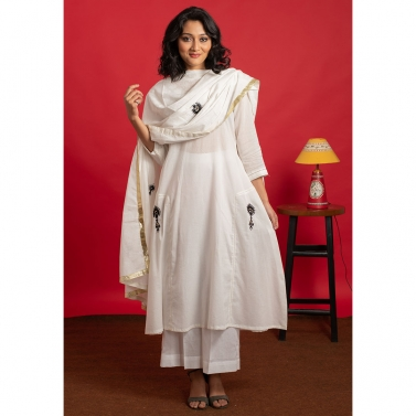 Ivory A-Line Hand Embroidered Mulmul Kurta set with hand embroidered dupatta