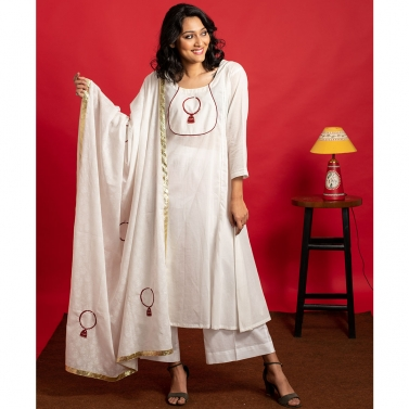 Ivory Kalidar hand embrodered kurta set with Ivory hand  embroidered dupatta