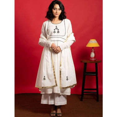 Ivory Anarkali Hand Embroidered Kurta set with hand embroidered dupatta