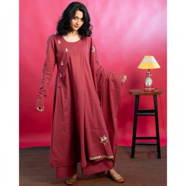 Maroon Flared Hand Embroidered Kurta set with Gota embellishments and embroidered dupatta