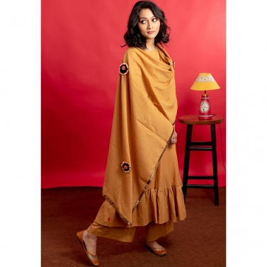 Mustard brown Hand Embroidered Frock Style Kurta set with Gota embellishments embroidered dupatta