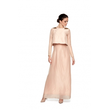 Long Dress With Cape Top