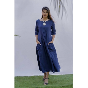Blue Cotton Slub A line Dress