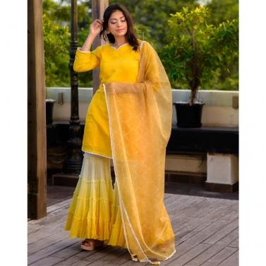 Yellow Chanderi Kurta And Gharara Set