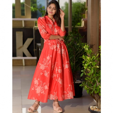 Red Floral Chanderi Maxi Dress