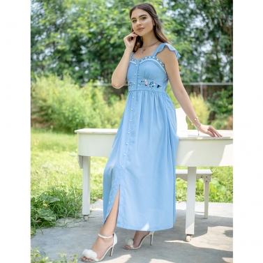 Powder Blue embroidered  Poet Midi Dress