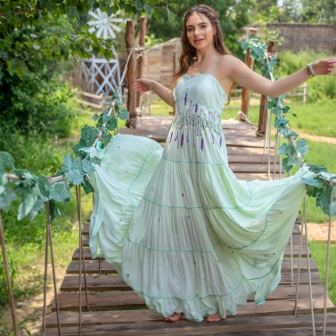 Light Jade embroidered maxi Dress