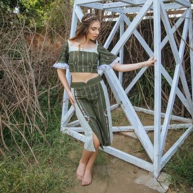 Olive Moss Crepe crop top & Pencil skirt