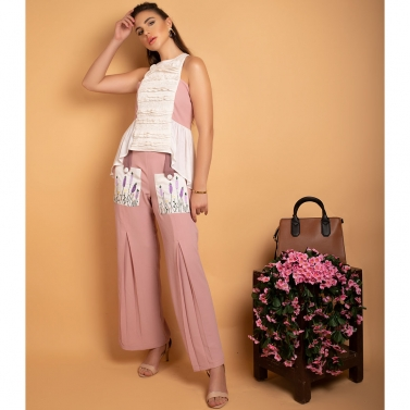 Moss crepe Daisy pink embroidered pockets palazzo