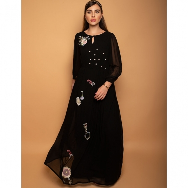 Charcoal black Catholic maxi dress