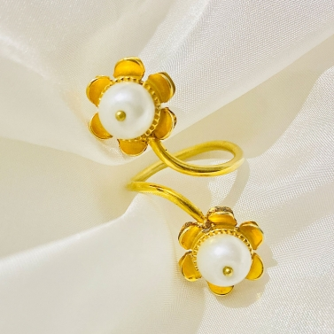 Sunflower Spiral Pearl Drop Ring