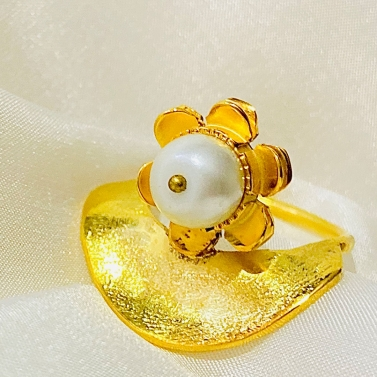Sunflower Pearl Ring