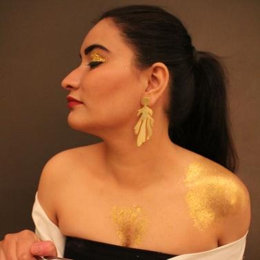 Gold Plated Long Petal Earrings