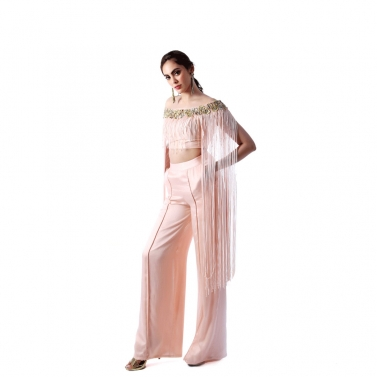 Peach Tassel Blouse With Straight Pants