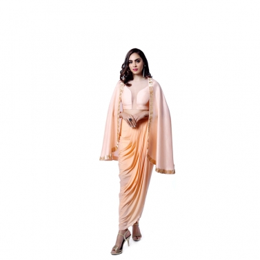 Peach Dhoti Skirt with Cape