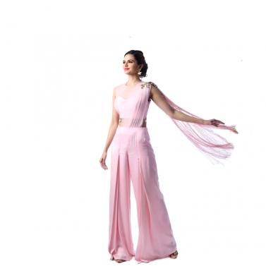 Pink Tassel Drape Pant-Style Dress