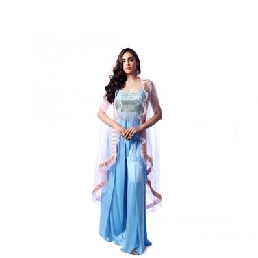 Blue Tassel Dress With Ruffle Cape