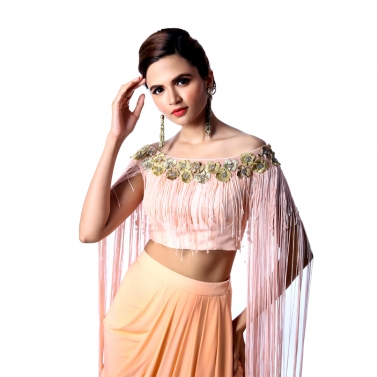 Dhoti Skirt With Tassel Blouse