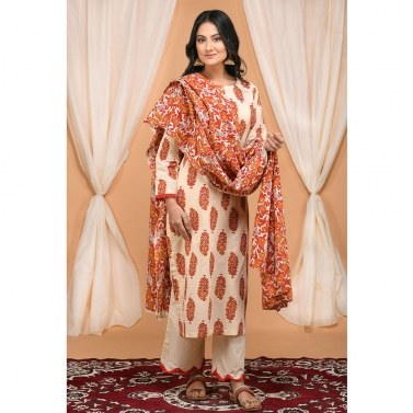 Red and Orange Floral Jaal Dupatta set with SCalloped Pants